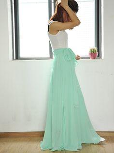 High Waist Maxi Skirt Chiffon Silk Skirts by Dressbeautiful
