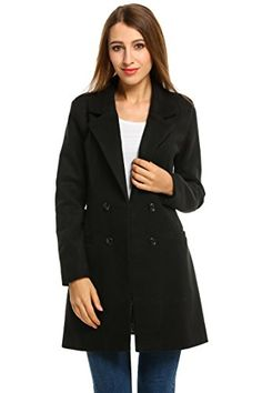 HOTOUCH Women Overcoat Jacket Double Breasted Wool Blended Pea Coat Black L -- Check out this great product.