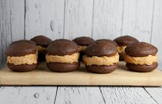 Delicious Chocolate Cake with Peanut Butter Buttercream in the middle makes up this Whoopie Pie.