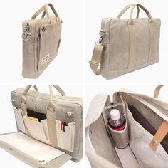 Hemp canvas 2 way briefcase – Bag World Diy Handbag, Art Bag, Fabric Bags, Cotton Bag, Cloth Bags, Laptop Bag, Fashion Bags, Bag Accessories, Purses