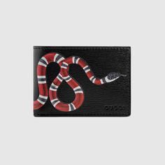 Snake print leather wallet