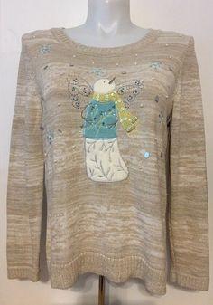 Christopher & Banks Women's Christmas Sweater Snowman Angel Size Large L  | eBay