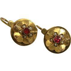 -Antique French Napoleon III Dormeuses Earrings 18 k Gold, Pearl Garnet ~ ca. 1860