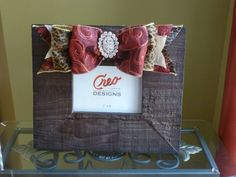 Rustic Photo Frame with Couture Ribbon and Rhinestone Brooch on Etsy