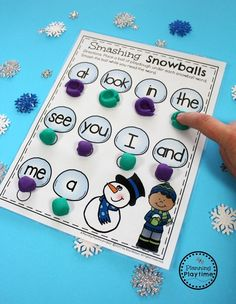 Winter Sight Words Activity for Preschool - Smash the Snowballs.
