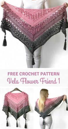 The Vela Flower Friend Shawl 1 is completely made with 1 of the 3 unique flower stitches that were used for the original design (Vela Flower Shawl). This shawl is dedicated to Vela who loves flowers and calls them her flower friends. Crochet Shawls And Wraps, Crochet Scarves, Crochet Clothes, Knitted Shawls, Crochet Crafts, Free Crochet, Knit Crochet, Free Knitting, Crochet Cape