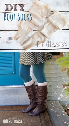 How to Make Boot Socks ~ Boot season will be here before you know it. Turn old sweaters from the thrift store or your closet into stylish DIY boot socks! How To Make Boots, How To Wear, Old Sweater, Sweaters, Upcycled Sweater, Brown Sweater, Alter Pullover, Diy Kleidung, Diy Vetement