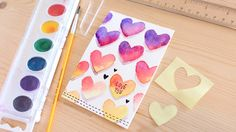 cardmaking video tutorial from K Werner Design: Easy DIY Valentine's Day Card Made with Minimal Supplies ... water color hearts ...