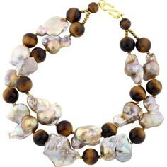 Tiger Eye & Baroque Pearl Double Strand Choker Necklace   1stdibs.com