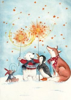 Nieuwjaarsbrief An Melis Christmas Art, Christmas And New Year, Watercolor Illustration, Watercolor Paintings, Cute Kawaii Drawings, Christmas Illustration, Christmas Wallpaper, Thanksgiving Desserts, Merry And Bright