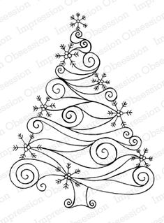 Zentangle Christmas tree- embroidery inspiration - it's really a rubber stamp, but it would be lovely embroidered! Noel Christmas, Christmas Colors, All Things Christmas, Christmas Decorations, Christmas Ornaments, Christmas Patterns, Christmas Doodles, Modern Christmas, Christmas Stencils