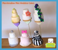 How cute are these?! Marshmallow mini wedding cakes