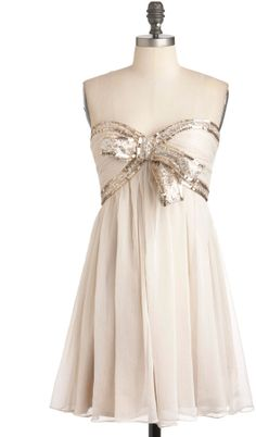 Elegance With a Sparkle Dress in Ivory.
