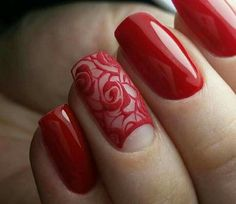Whatever your age is, the red nail polish is always a nice choice. The red nails are so versatile that you can wear them for different styles and occasions. Red nail designs are timeless, what can … Red Nail Polish, Red Nails, Nail Art Dentelle, Lace Nails, Lace Nail Art, Flower Nails, Trendy Nail Art, Fabulous Nails, Creative Nails