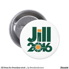 Show your support for Jill Stein and the Green Party in the 2016 election with this unique button. Green and yellow Jill 2016 graphic on a white background proudly displays what the Green Party is all about. #politics #political #neverhillary #nevertrump #jillbeforehill