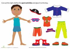 Summer Preschool Weather & Seasons Paper Projects Worksheets: Summer Paper Doll Boy free paper dolls at artist Arielle Gabriel's The International Paper Doll Society also free Asian paper dolls at The China Adventures of Arielle Gabriel * Seasons Worksheets, Preschool Worksheets, Weather Worksheets, Preschool Projects, Clothes Worksheet, Primary School Education, Preschool Weather, Little Sport, Paper Dolls Printable