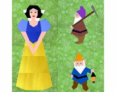 Snow White & the 7 Dwarfs Set of 5 paper pieced quilt block patterns PDF