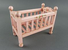 TYNIETOY Vintage Pink Baby Crib Painted Tynie Toy Dollhouse Nursery