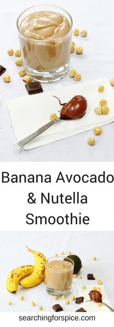 Recipe for banana avocado and Nutella smoothie. This healthy smoothie makes a great breakfast option as the Nutella makes it feel so indulgent. #NutellaSmoothie #Smoothie #avocadosmoothie #bananasmoothie #breakfast #healthyrecipes
