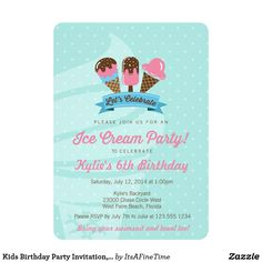 Kids Birthday Party Invitation  Ice Cream Party Card