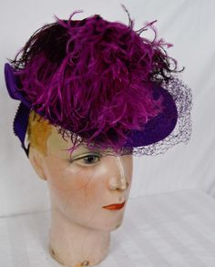 Vintage 40s LARGE Plume Purple Tilt Topper Toy Hat Feather