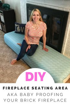Baby Proof your brick fireplace the easy and kind-of-cute way! Baby Proof your brick fireplace the easy and kind-of-cute way! Fireplace Seating, Fireplace Cover, Brick Fireplace Makeover, Fireplace Hearth, Brick Fireplace Decor, Stone Fireplaces, Fireplace Ideas, Baby Safety, Child Safety