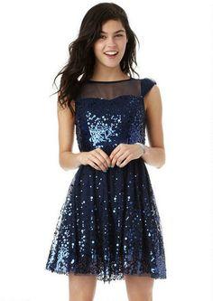 Cap Sleeve Sequin Mesh Dress