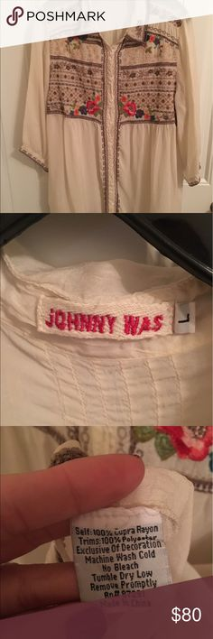 Johnny Was embroidered blouse Beautiful Johnny Was blouse size large. 3/4 sleeves. Johnny Was Tops Blouses