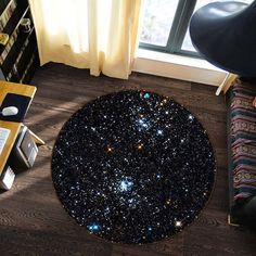 Starry Sky 52 Non Lip Round Rug Room Mat Photo Carpet Bathroom Office Home Quality Living