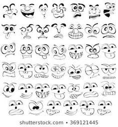 Cartoon Face Emotion Set Various Facial Stock Vector (Royalty Free) 513507949 Cartoon Faces Expressions, Facial Expressions Drawing, Cartoon Expression, Drawing Cartoon Faces, Cartoon Eyes, Cartoon Art, Emoji Drawings, Easy Drawings, Ink Illustrations