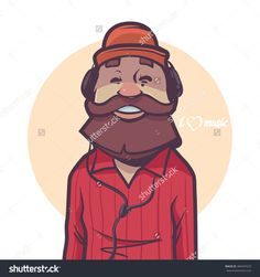 Happy Man With Beard Listening Music, Headphones, Cap, Hipster, Cartoon Character, Vector Illustration - 383447623 : Shutterstock