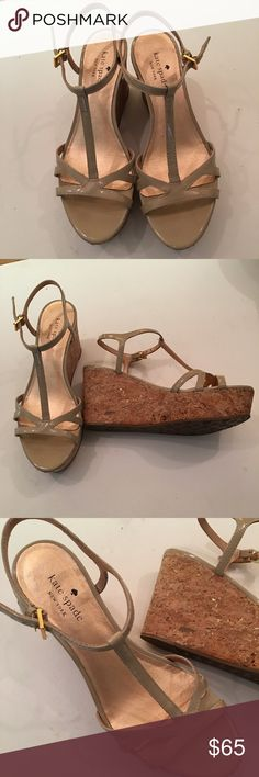 NWOT Kate Spade Platform t strap sandals Gorgeous beige/taupe patent leather T strap and cork platform sandals. The cork has flecks of gold. Gold tone buckles. This will go with everything! Never worn. kate spade Shoes Platforms