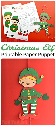 Easy Elf Paper Puppet for Christmas. How CUTE are these darling Elf Puppets? A free printable for all to enjoy this Christmas season. Get creative and colour your own! Short on time, make use of the handy coloured versions. Adorable. Super fun Christmas Elf Paper Puppets!