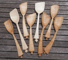 Jane Mickleborough - hand made birch and sycamore cooking spatulas/spoons.