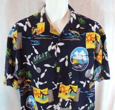 Koman-Hawaiian-Men-039-s-Large-Shirt-Sport-Bowling-Shockers-Sailfish-Florida-Bowl