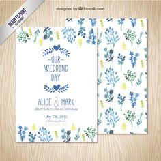 Invitación de boda con las hojas de acuarela