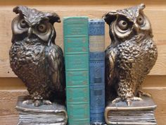 TWO Old Owls Still Guarding The Knowledge......Original Color and In Great Shape By Printed Words Of Wisdom