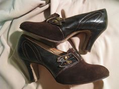 Brown suede and leather 1920's pumps.