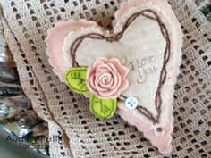 Audrey Pettit, Sizzix, I Love You Pinkeep- Scalloped Hearts, Bigz Leaves Die, and 3D Rolled Flower