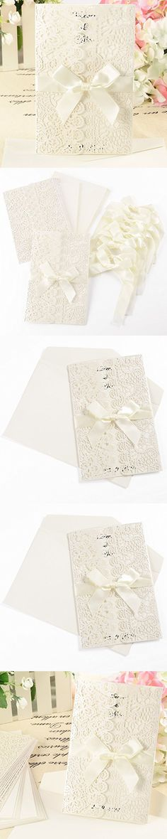 Surepromise Lace Lacer Cut Out Hollow Wedding Invitations Ribbon Handmade Sidefold Birthday Party Invitations Thank You Cards
