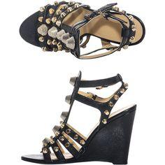 Balenciaga Arena stud wedge sandals ($903) via Polyvore