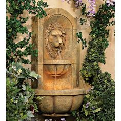 Lion Head Faux Stone Wall Fountain - #26106 | LampsPlus.com