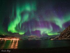 Aurora Borealis (by Kristin Berg on March 2015 @ Tromsø, Norway). Tromso, Aurora Sky, Northern Lights Norway, Natural Phenomena, Milky Way, Aurora Borealis, Night Skies, Cosmos, Places To See