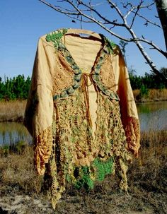 Repurposed doilies made into a gorgeous top! It would make a great top for a Mother Earth costume!
