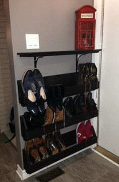 Custom shoe rack for our small garage entry - Dec. Garage Entry, Small Garage, Dec 2016, Custom Shoes, Shoe Rack, Projects, Home, Custom Tennis Shoes, Log Projects