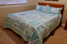 Queen quilt with matching pillow shams.