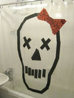 What an awesome DIY idea, I should do this! Duct tape skull Halloween decoration curtain. #DIY