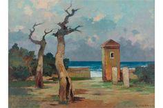 """RENATO NATALI (Livorno 1883 - 1979), """"Ardenza d'inverno"""". Olio su tavola,  cm. 60 x 80  Firma in basso a destra Titolo e firma al retro Babuino Casa d' Aste"""