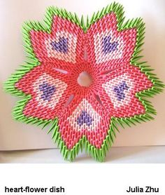 3D origami heart flower dish by juls2.deviantart.com on @deviantART