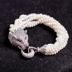 ヴィンテージ多層ロープチェーン数珠ブレスレット銀豹925本物の真珠のブレスレットヘッドpulseirafemininaキュービックジルコニア()